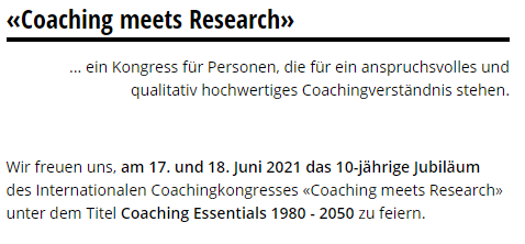 Kongress Coaching meets Research